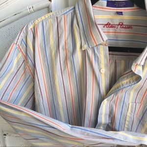 ALAN FLUSSER GRAY AND COLOR STRIPE LONG SLEEVE